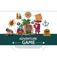 cartoon adventure game ui elements composition vector image