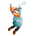 cartoon boy in winter clothes jumping vector image vector image