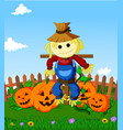cartoon scarecrow and pumpkins vector image