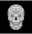 decorative painted mexican sugar skull on black vector image vector image