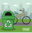 ecology green world bicycle recycle trash can vector image