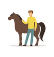 farmer man caring for his horse farming and vector image vector image