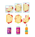 fast food dinner set - sandwiches and drinks vector image