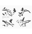 figure set flock flying birds on tree branch vector image vector image