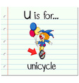 Flashcard letter U is for unicycle vector image vector image