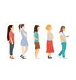 full length cartoon women standing in line vector image vector image