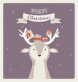 fun Christmas of deer bearing gifts vector image