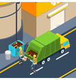 Garbage Collection Isometric Poster vector image
