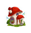 gnome dwarf house in mushroom cartoon vector image
