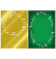 golden and green musical backgrounds with frames vector image