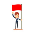 happy businesswoman pointing to red flag start up vector image vector image