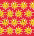 happy funny sun winked wallpaper pattern cartoon vector image