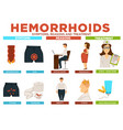 hemorrhoids symptoms reasons and treatment poster vector image
