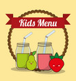 kids menu glass cup with juice fruit vector image vector image
