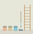 Ladder Paint Roller And Paint Buckets Home vector image vector image