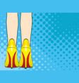 legs of woman in yellow shoes on high heels pop vector image vector image