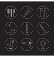 Line Design Hairdressing Icons Set 9 vector image