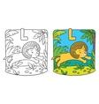 Little lion coloring book Alphabet L vector image
