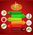 margarita pizza infographics with ingredients in vector image vector image