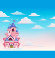 pink castle in clouds theme 1 vector image