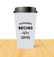 Plastic cup of coffee with an inscription Morning vector image