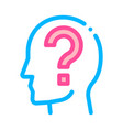question mark in man silhouette mind icon vector image