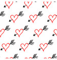 seamless pattern with arrow in heart vector image vector image