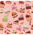 Seamless pattern with fruit cake slices vector image