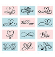 set of 12 lovers heart handmade vector image vector image