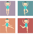 set of colored icons cartoon girl in a bathing vector image vector image
