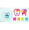 set of funny colored teeth icons vector image