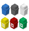 set of isometric trash bin with symbol in flat vector image