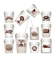 Set plastic cups with chocolate labels vector image