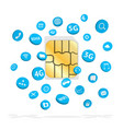 sim card with connection apps icon floating vector image