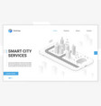 smart city hologram on smartphone screen with vector image vector image