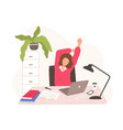 smiling woman sitting at desk with laptop taking vector image vector image