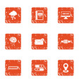 technical school icons set grunge style vector image