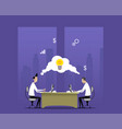 two businessmen work in night office vector image vector image