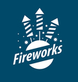 White logo for entertainment and fireworks vector image vector image