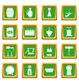 Wine icons set green vector image