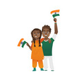 young couple man and woman holding indian flags vector image vector image