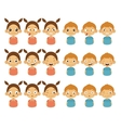 Cute Girl and Boy Faces Showing Different Emotions vector image