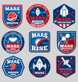 mars mission space emblems astronaut vector image