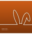 Easter background with silhouette line rabbit vector image