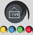 75 discount icon sign Symbol on five colored vector image vector image