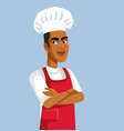 african male chef standing with arms crossed vector image vector image