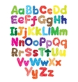 Alphabet kids doodle colored hand drawing vector image vector image