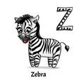 alphabet letter z zebra vector image vector image