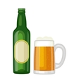 Beer glass bottle vector image