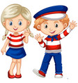 boy and girl waving hello vector image vector image